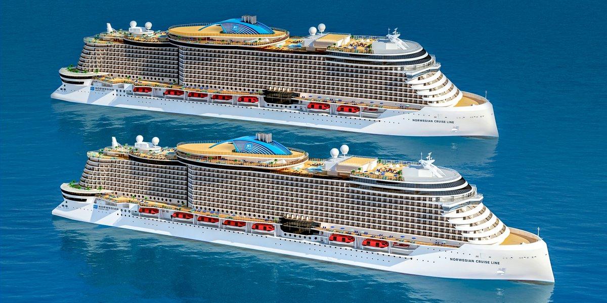 """Norwegian Cruise Line håber atter at kunne sejle fra sommeren og efteråret. """"Vi er forhåbentligt tættere på afslutningen af coronakrisen end begyndelsen,"""" siger rederiet, der de kommende år får seks nye Leonardo-class skibe som disse i flåden. Illustration: Norwegian Cruise Line."""