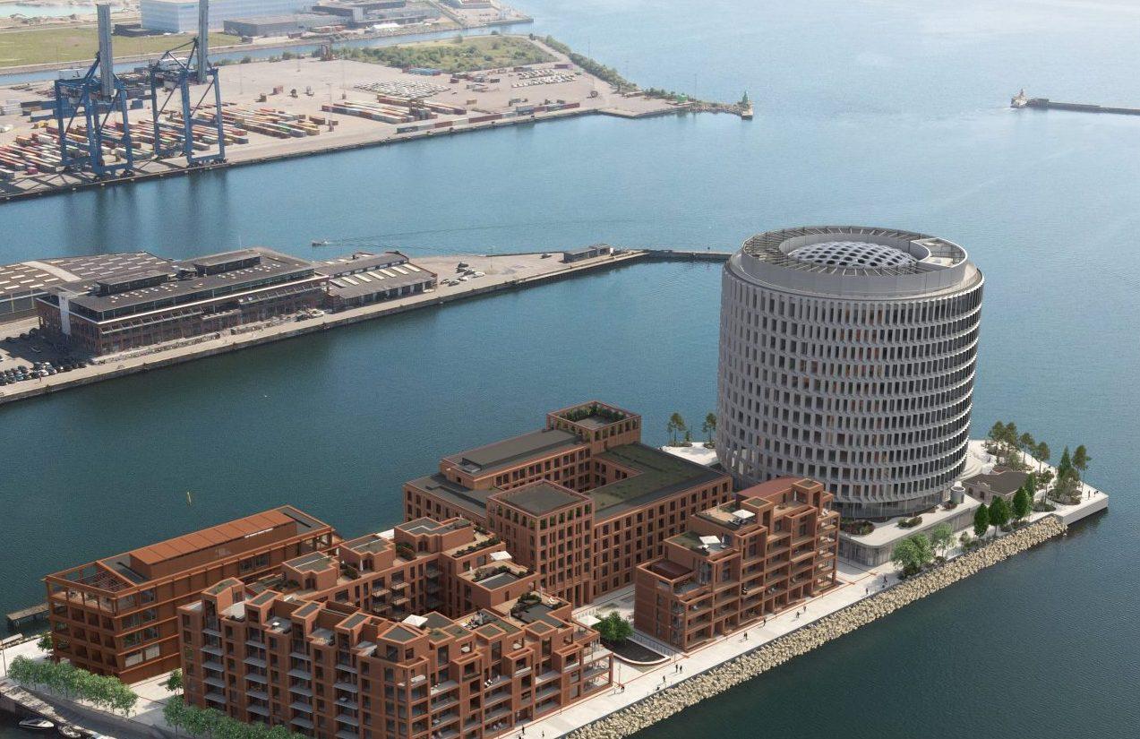 Fem kilometer fra Københavns centrum opfører PFA Ejendommes udviklingsprojektet Nordø i Københavns Nordhavn. I bygningen bagest ved siden af den runde bygning, kommer de to Marriott-hoteller. Foto via: Core Hospitality.