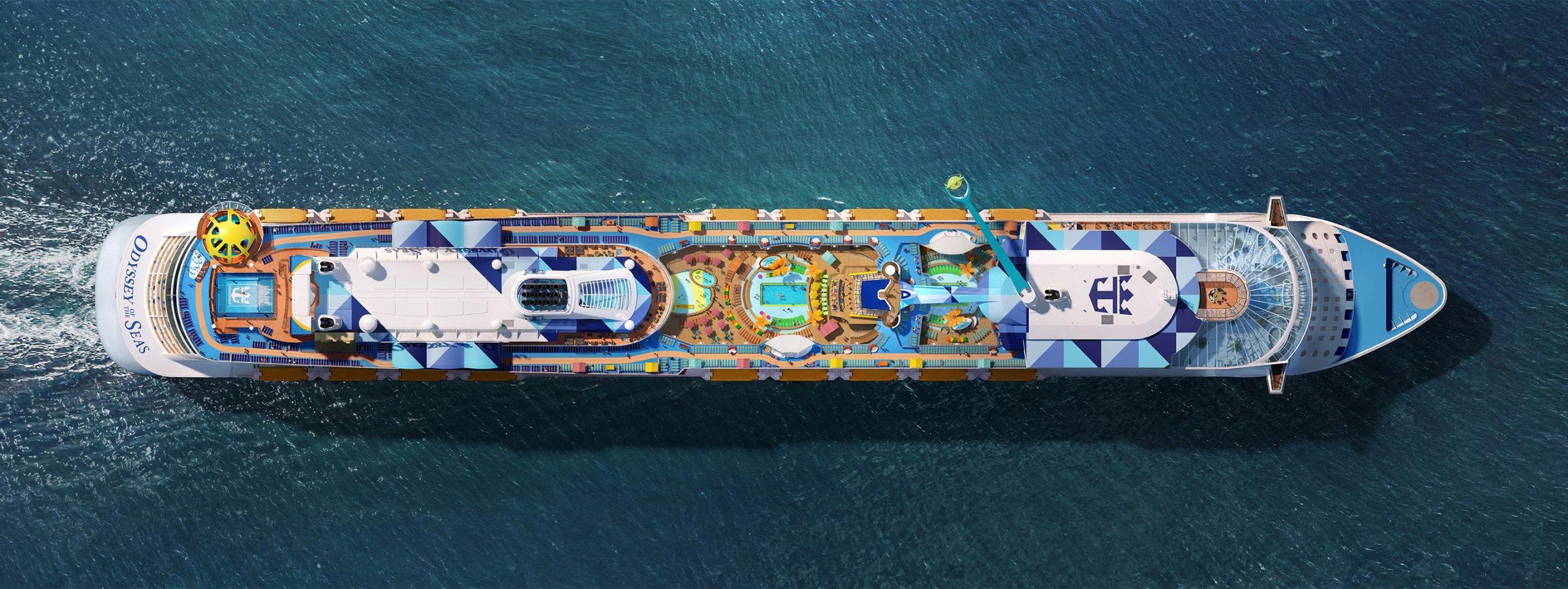 Klik for større format. Et af Royal Caribbean Internationals' nyeste skibe, Odyssey of the Seas, skal fra maj sejle israelske krydstogtturister til Cypern og Grækenland. PR-foto: Royal Caribbean International.