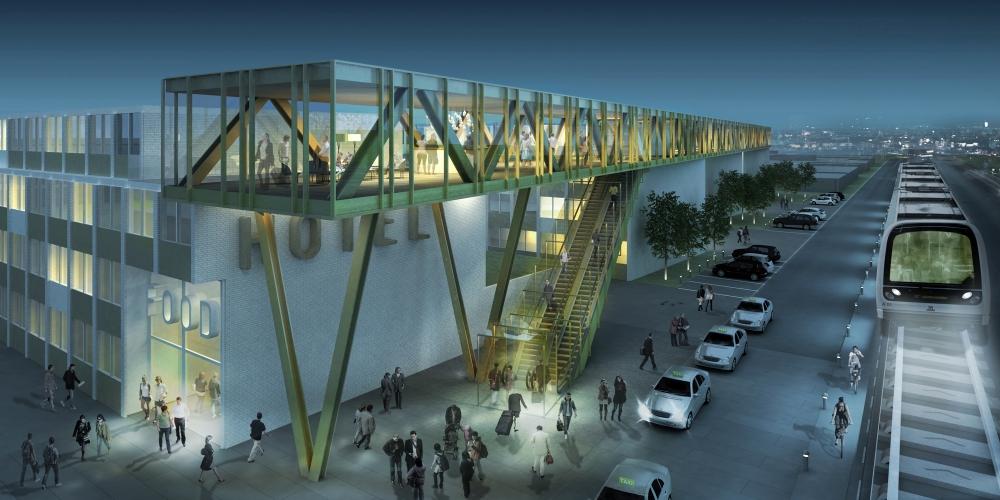 Arkitekttegning af bygningen med det nu annullerede hotel ved metrostation Femøren. Komplekset, der er under opførelse, får supermarked, ungdoms- og studieboliger og daginstitution. Illustration for Gefion Group: AI Arkitekter & Ingeniører.