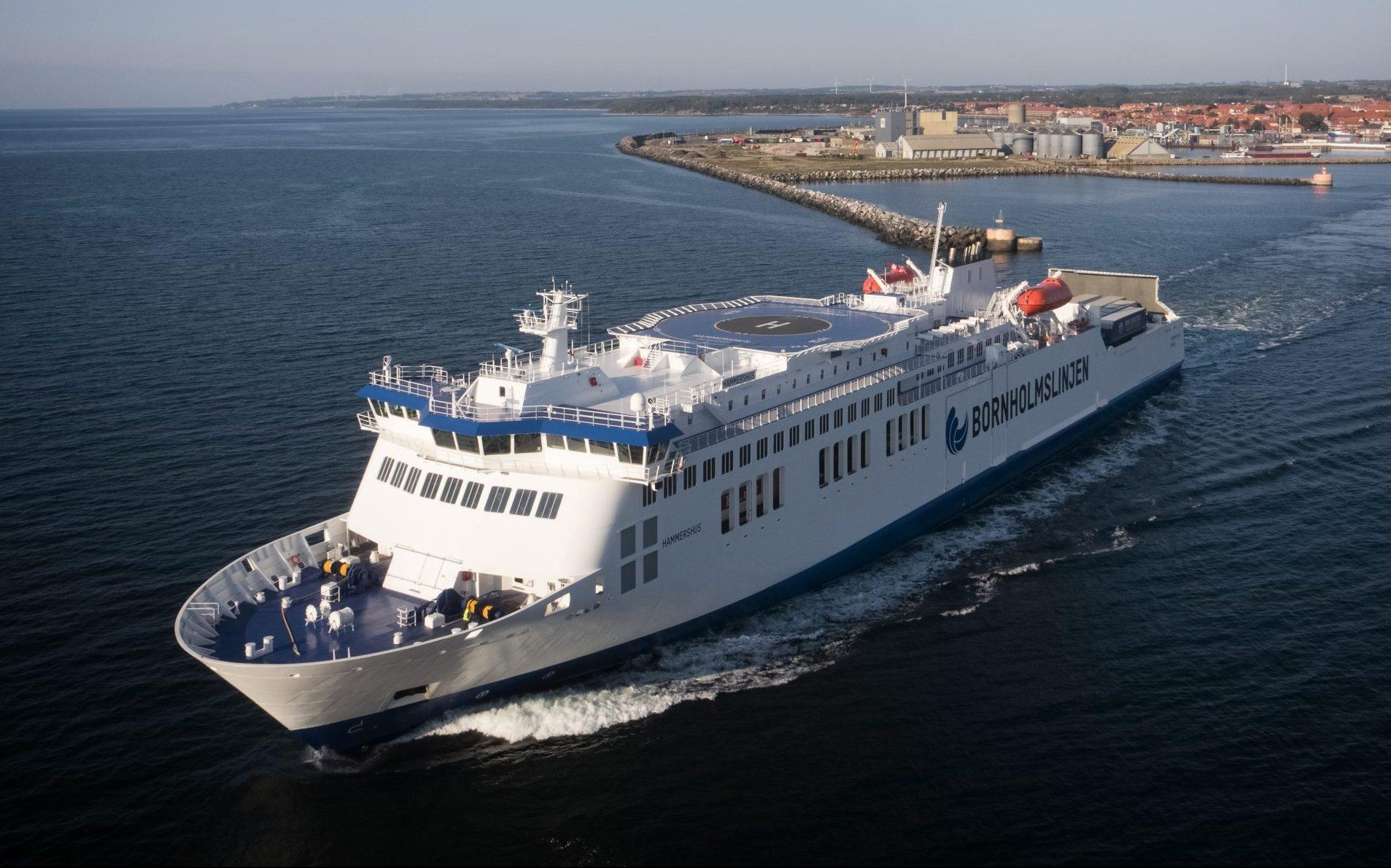 Færgen Hammershus begynder 3. juni igen at sejle mellem Rønne og Tyskland. Arkivpressefoto fra Molslinjen.