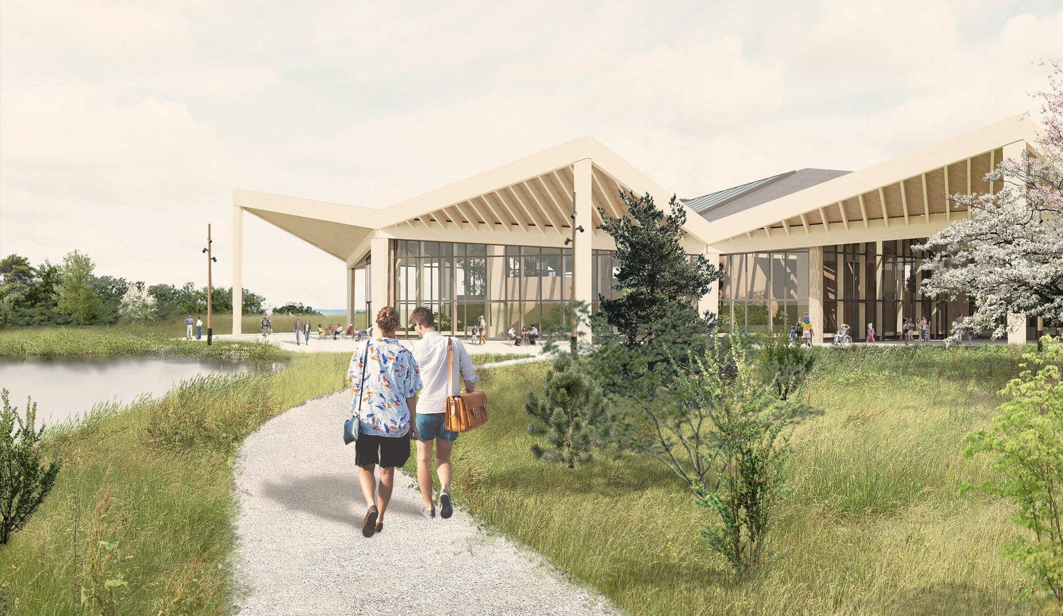Det bæredygtige familieresort Nordborg Resort på Als forventes at åbne som helårlig turistattraktion i 2024.Resortet skal drives af store Center Parcs, som dermed får sin på sin skandinaviske debut. Illustration: Nordborg Resort.