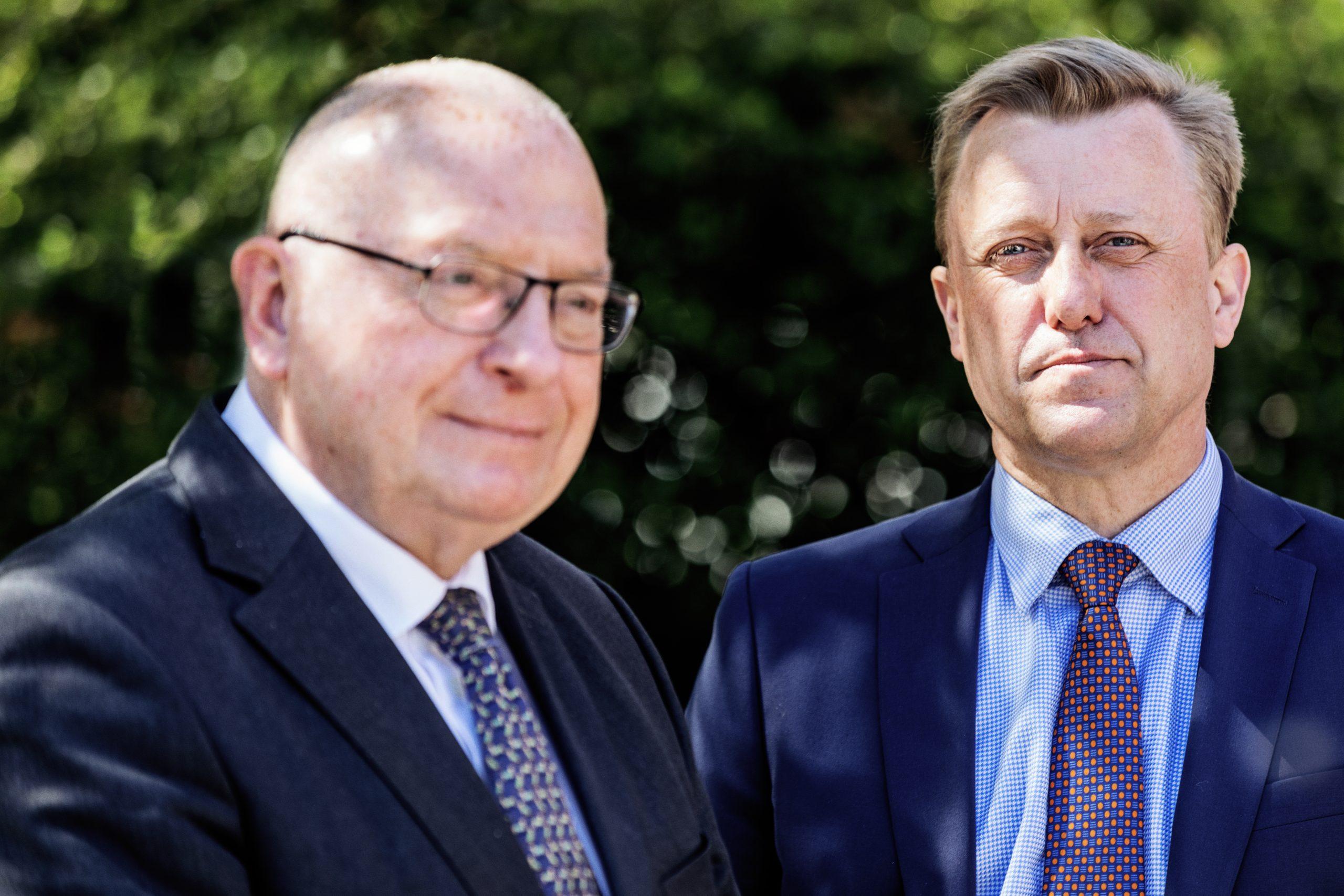 Jens Zimmer Christensen, til venstre, takkede torsdag af som formand for HORESTA's to bestyrelser, og blev afløst af Jan Vinther Laursen. Foto: HORESTA.