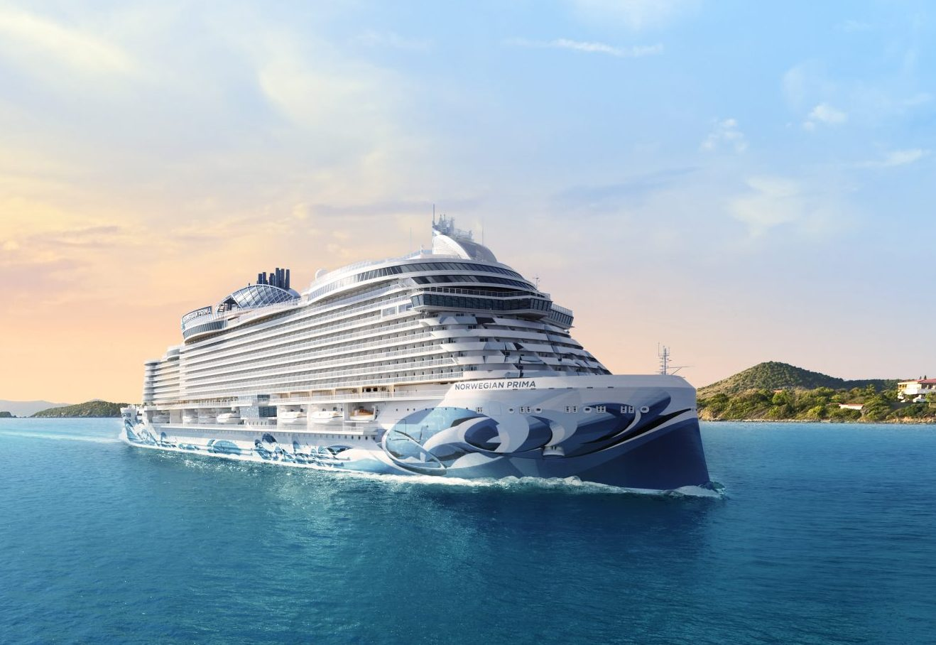Norwegian Prima bliver navnet på det første af seks skibe i netop Prima Class, som Norwegian Cruise Line fra august næste år begynder at modtage ét af om året. Rendering fra Norwegian Cruise Line.