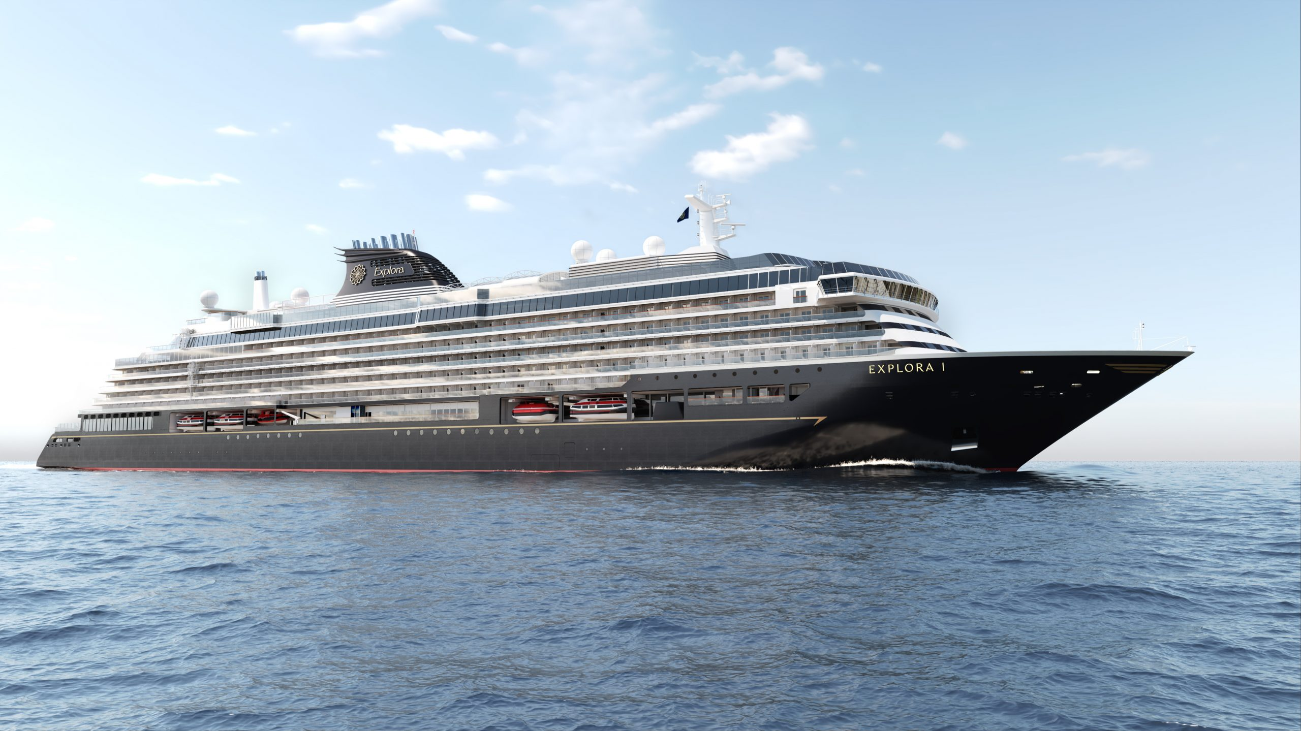 De kommende fire Explora Journeys-luksuskrydstogtskibe, der første er klart i 2023, er mindre end MSC Cruises' traditionelle skibe og kan dermed besøge mindre havne. Illustration: MSC Cruises.