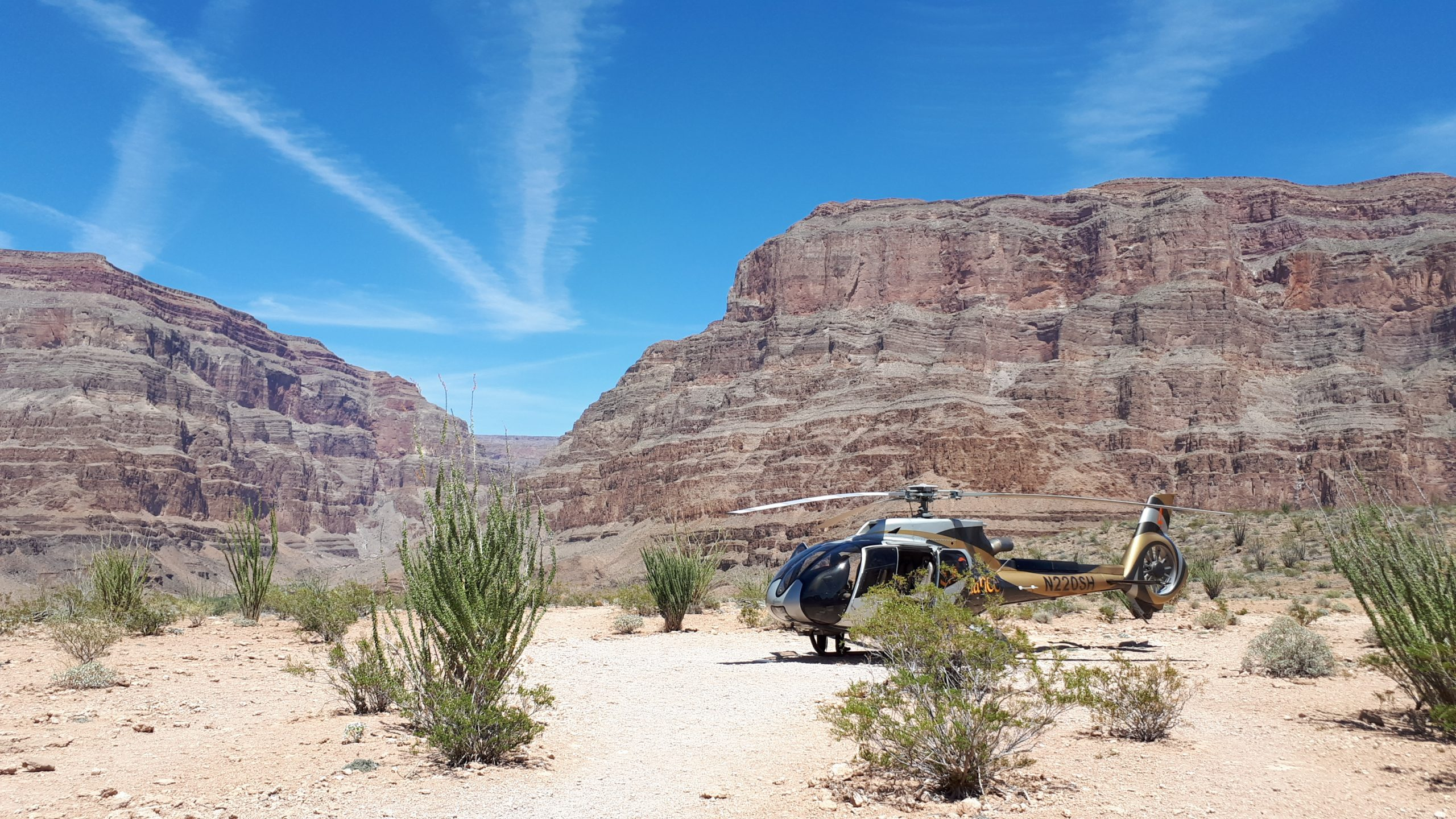 Turismebranchen har verden over haft den største nedgang i antal rejsende og omsætning siden Anden Verdenskrig som følge af coronakrisen. Her arkivfoto fra 2019, hvor en helikopter med turister er fløjet fra Las Vegas til Grand Canyon. Foto: Henrik Baumgarten.