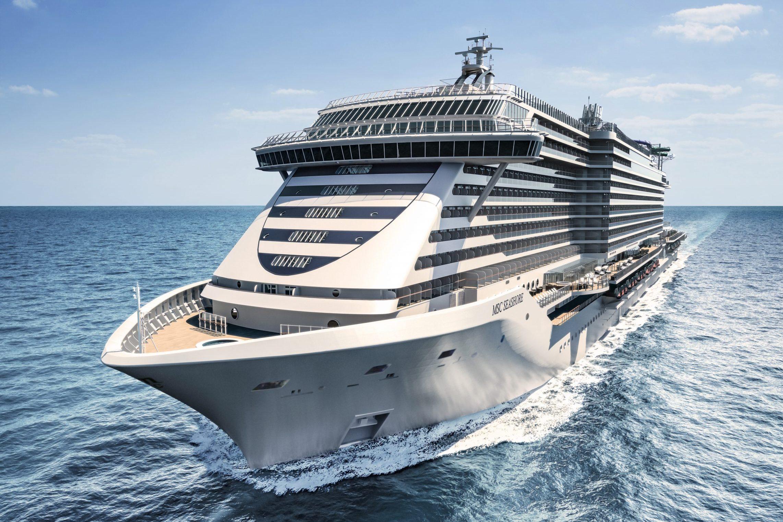 MSC Seashore fra italienske MSC Cruises bliver angiveligt årets dyreste nye krydstogtskib til en pris af næsten syv milliarder kroner. Illustration: MSC Cruises.