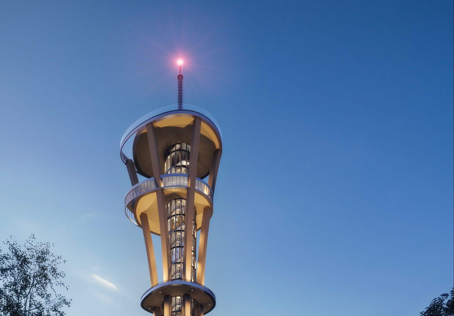 Sådan kommer toppen af Rhineland Tower K1 efter planen til at se ud, illustration via Tysk Turist Information: Bernd Pieroth.