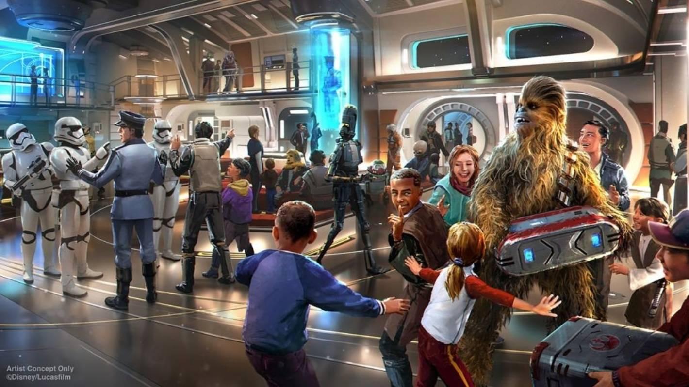 Det kommende nye Disney-hotel, Star Wars: Galactic Starcruiser, kommer til at ligne en kæmpemæssig starcruiser, som de kendes fra Star Wars-filmene. Illustration fra Walt Disney World Resort, Star Wars: Galactic Starcruiser.