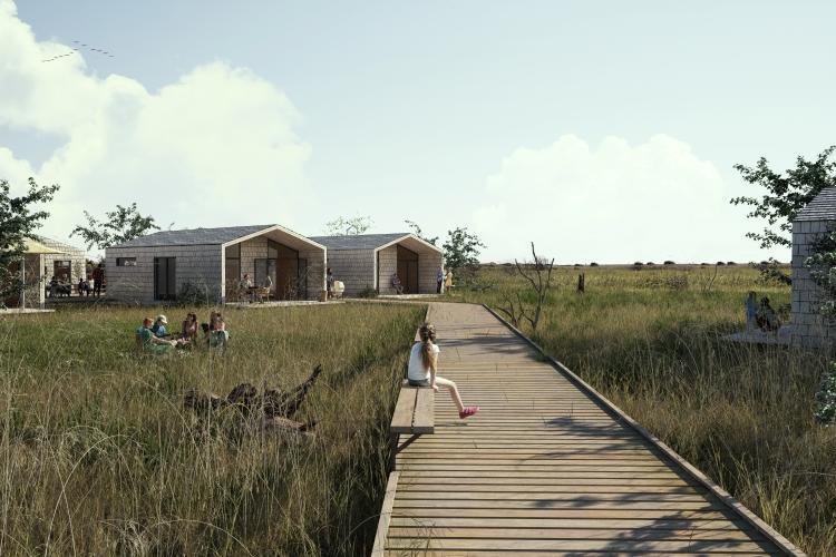 Værelsesbygningerne i det kommende Hage's Badehotel skal bygges på pæle over terræn og bindes sammen af gangbroer. Illustration: Femern Belt Development.