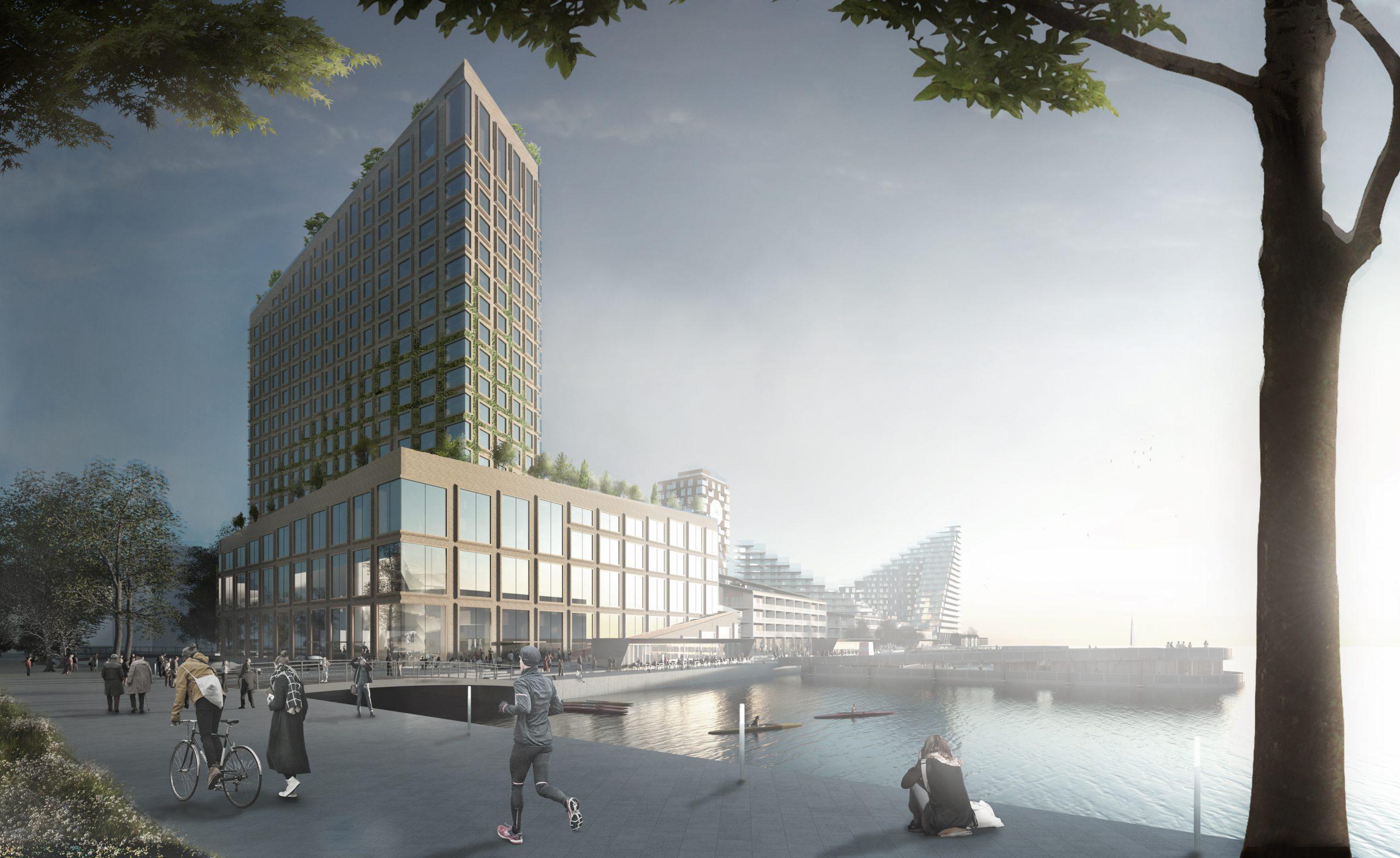 Den flotte, planlagte bygning med blandt andet et stort Scandic-hotel ved havnen i Aarhus forventes nu først klar i starten af 2026. (Illustration: Bjarke Ingels Group og Sleth)