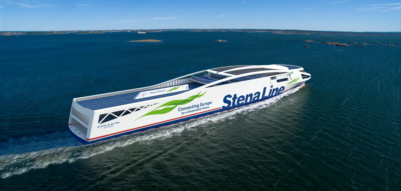 De kommende Stena Elektra-færger bliver verdens første fossilfrie RoPax-fartøjer i sin størrelse og vil måle omkring 200 meter og udover kapacitet til biler og lastbiler have plads til over 1.000 passagerer. Illustration: Stena Line.