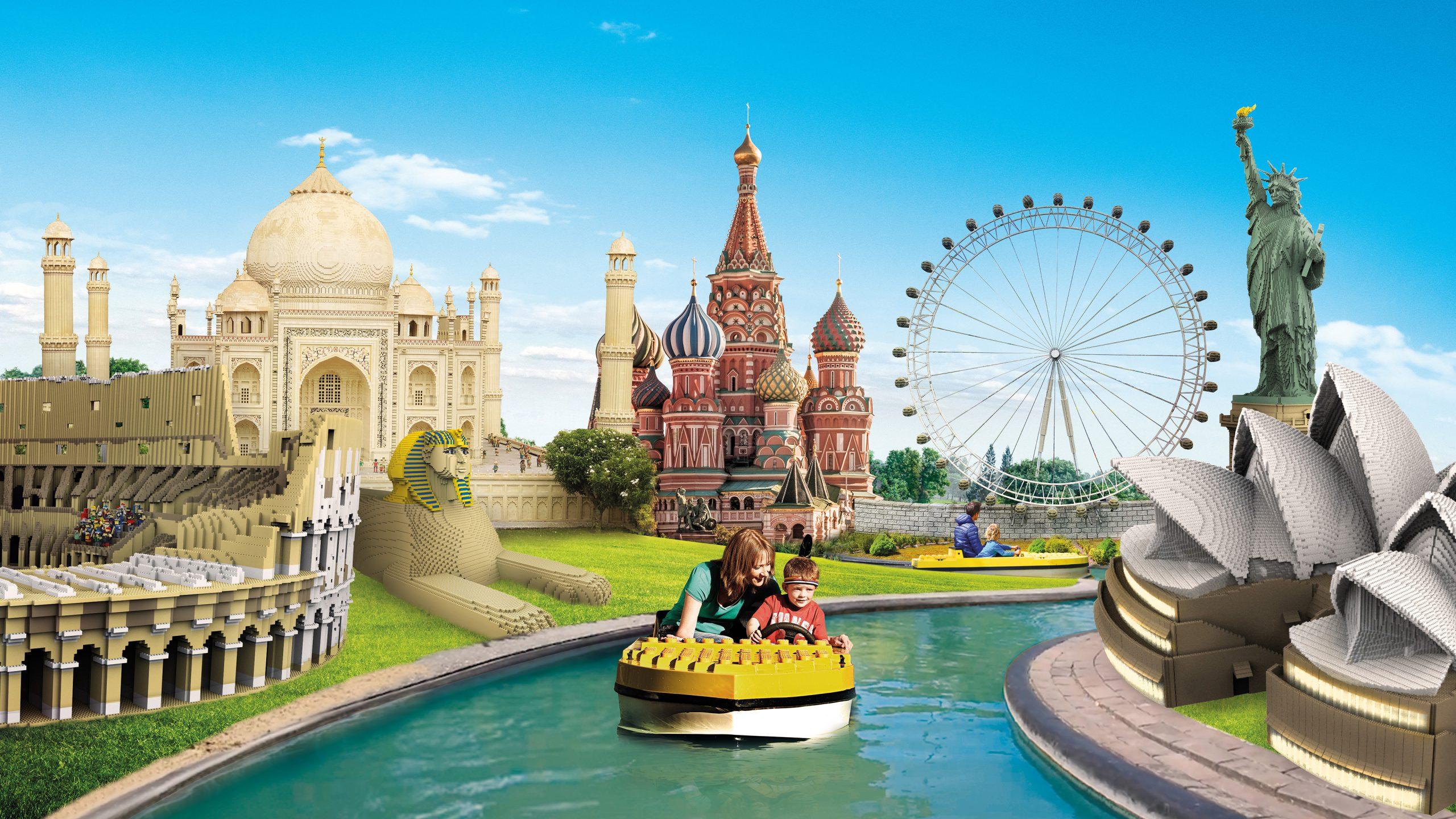 Til næste års åbning af Legoland vil forlystelsesparken ved Billund blandt andet byde på nye LEGO-modeller afFrihedsgudinden i New York, Taj Mahal i Indien, Operahuset i Sydney, Colosseum i Rom, Kreml i Moskva og London Eye. Presseillustration: Legoland.