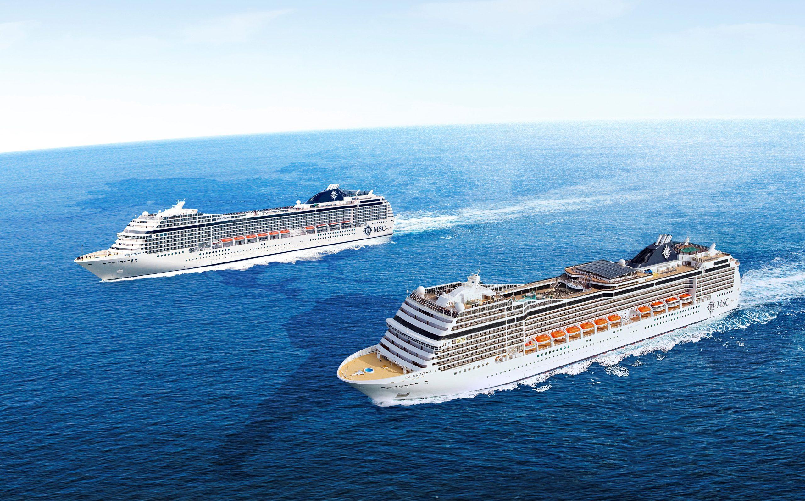 Illustration fra MSC Cruises af de to skibe, MSC Poesia og MSC Magnifica, der i 2023 gennemfører hvert deres verdenskrydstogt af cirka fire måneders varighed.