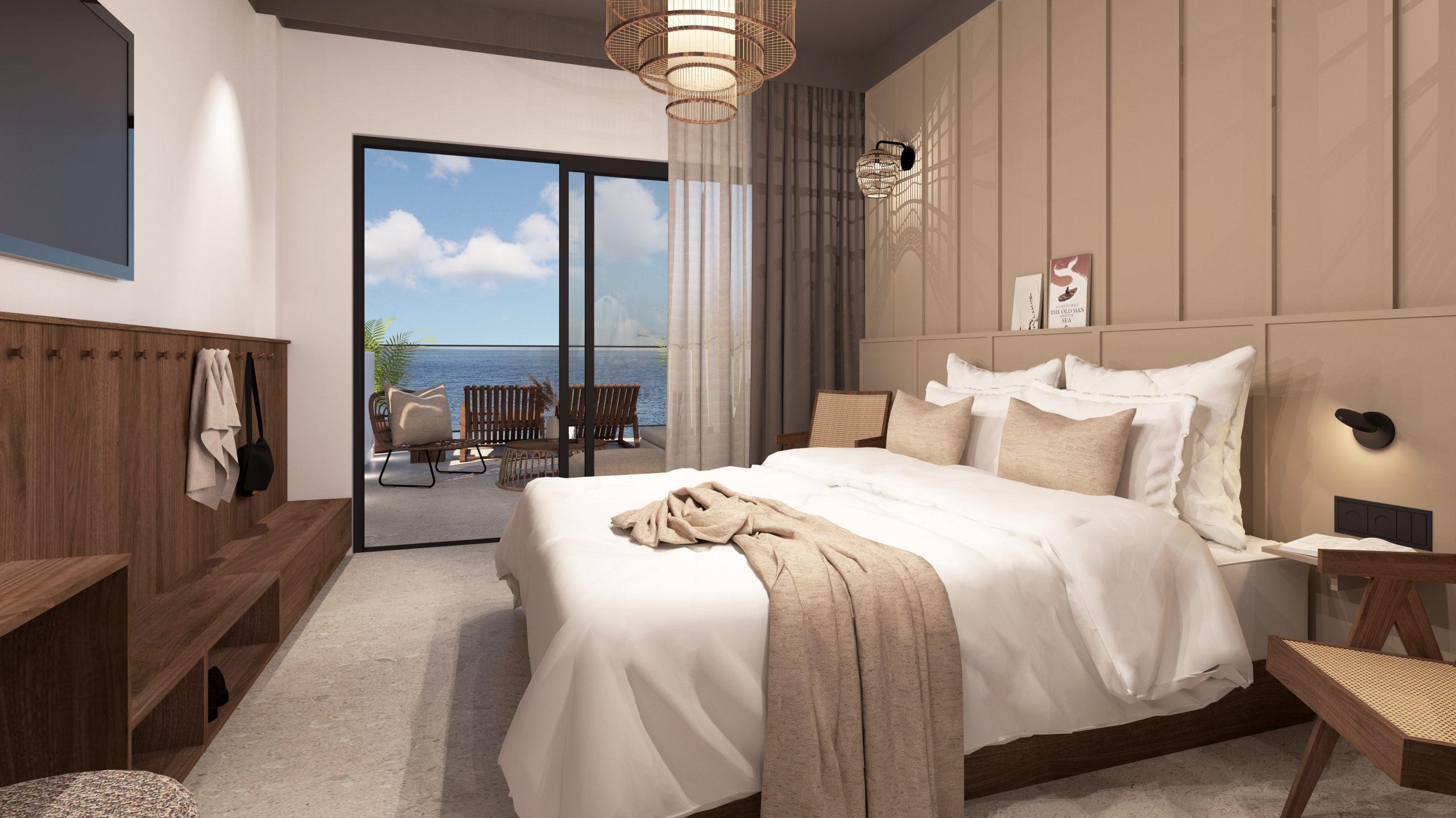 Det eksisterende Spies-hotel Sunprime Pollensa Bay på Mallorca ommøbleres nu til et Sunprime-hotel, hvor gæsterne skal være mindst 16 år. Hotellet er kun for gæster fra Nordic Leisure Travel Group, der omfatter Spies. Illustration af et kommende værelse på Pollensa Bay-hotellet.